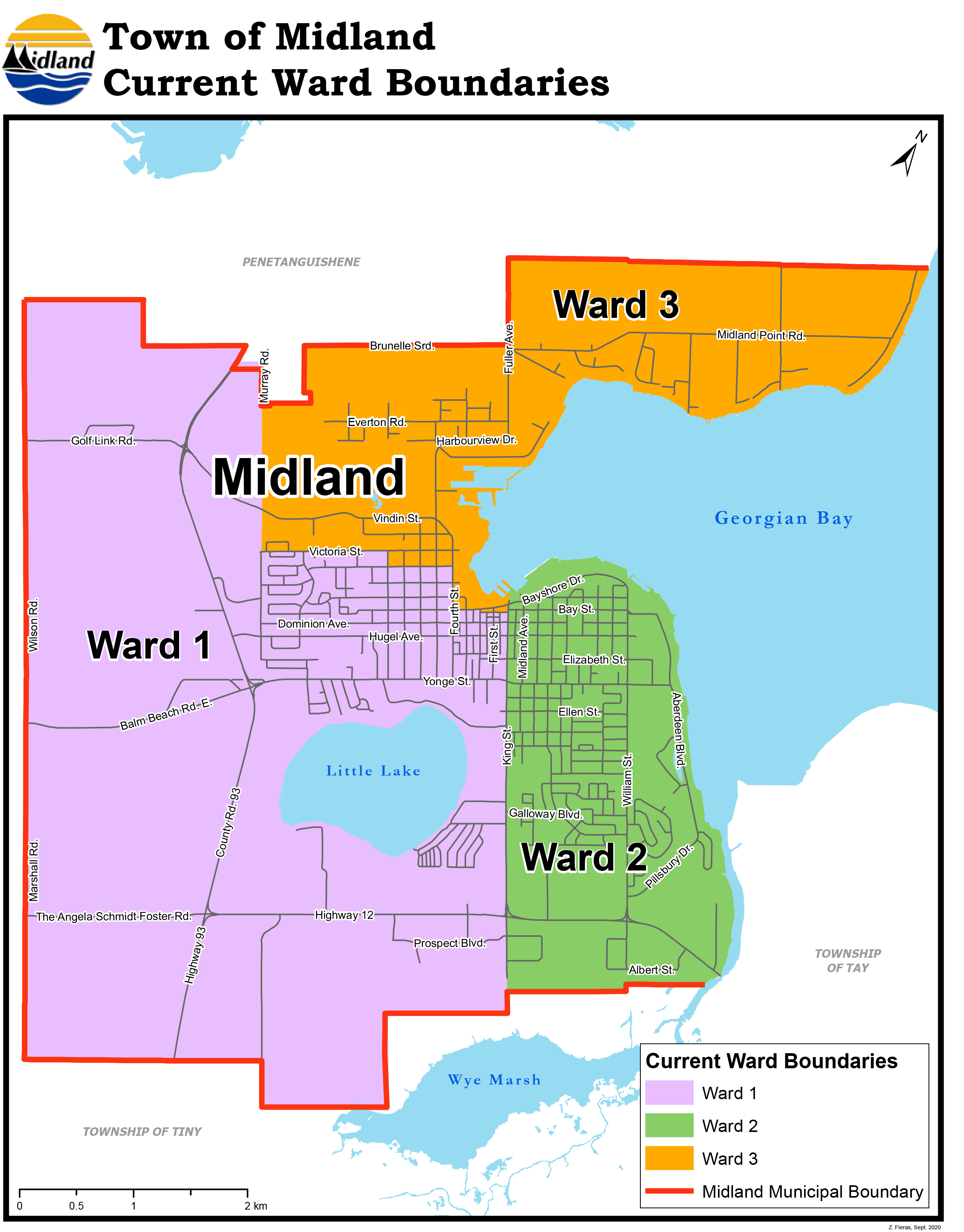 Town of Midland - Current Ward Boundaries