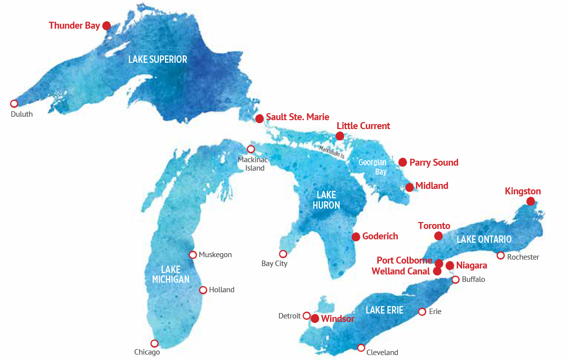 Map of the Great Lakes Ports